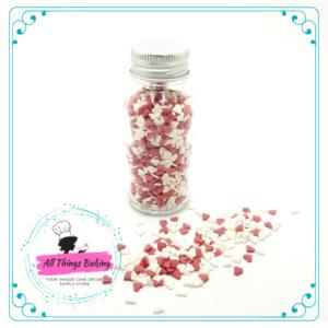 Edible Confetti - Red and White Hearts 50ml