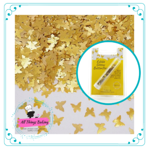 Edible Glitter Shapes - Gold Butterflies