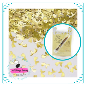 Edible Glitter Shapes - Gold Mermaid Tail