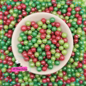 6mm Mixed Sugar Pearls - Christmas