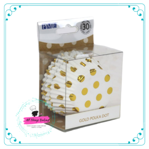 Gold Foil Polka Dots Baking Cases