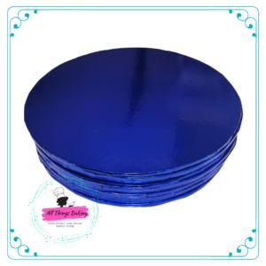Cake Board Round Metallic Blue