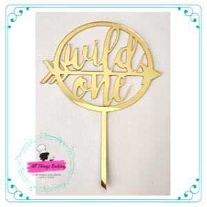 Cake Topper 15cm - Wild One (Gold)