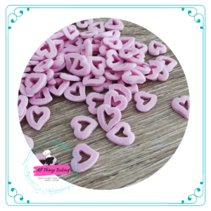 Edible Cake Confetti - Pink Hollow Hearts