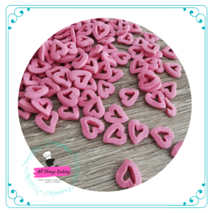 Edible Cake Confetti - Pinkish-Red Hollow Hearts