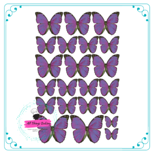 Wafer Paper Butterflies - Vivid Purple