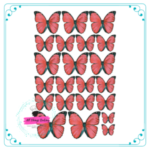 Wafer Paper Butterflies - Vivid Red