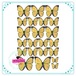 Wafer Paper Butterflies - Vivid Yellow