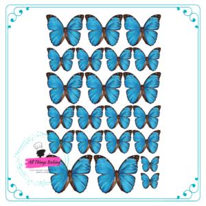 Wafer Paper Butterflies - Vivid Blue