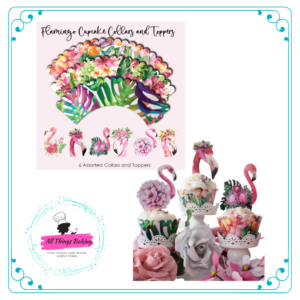 Pink Flamingo Cupcake Collar and Toppers