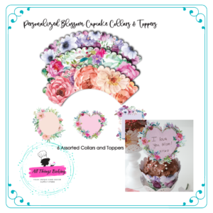 Personalized Blooms Cupcake Collar and Toppers