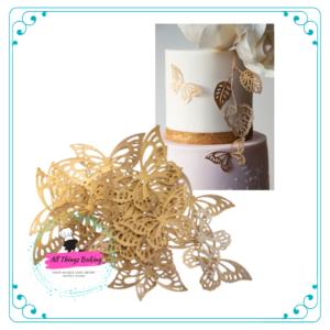 Wafer Paper Butterflies - Metallic Gold
