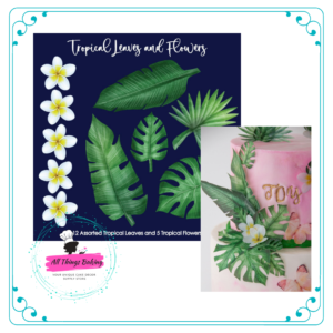 Wafer Paper Tropical Leaves and Flowers