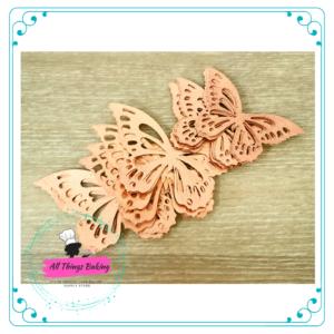 Wafer Paper Butterflies - Metallic Rose Gold