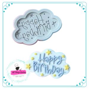 Silicone Mould - Happy Birthday Cloud