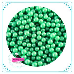 6mm Sugar Pearls - Peacock Green