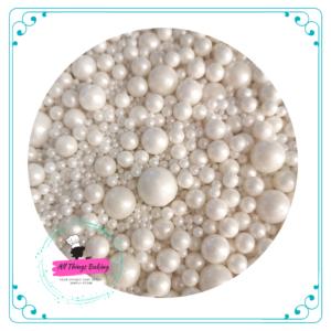 Mixed Sugar Pearls - White