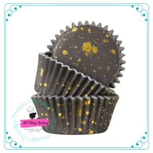 Foil Lined Baking Cup - Black Gold Flecks