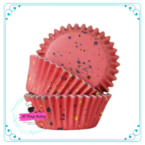 Foil Lined Baking Cup - Pink w Gold Flecks