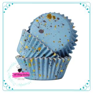 Foil Lined Baking Cup - Blue w Gold Flecks